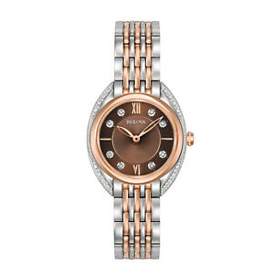 Bulova Women's 98R230 Quartz Diamond Markers Brown Dial Bracelet mm Watch