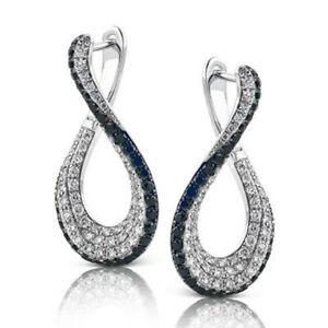 Black White Hoops Cocktail Party Women Earrings 925 Sterling Silver Cz Gift New*