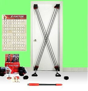 X-Factor Door Fitness Strength Exercise Training W DVD + Straps + Straight Bar