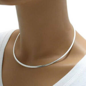 925 Sterling Silver Domed Omega Necklace - 3 mm - 16