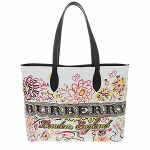 Burberry Women's Doodletote Check Reversible Canvas Tote Filled Graffiti White