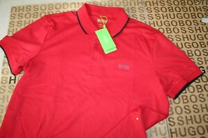 NEW HUGO BOSS MENS RED ATHLEISURE SLIM FITTED GOLF SPORTS PRO POLO T SHIRT LARGE $112.68