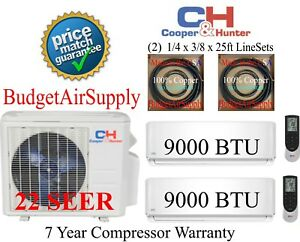 1.5 ton 22 Seer 18k Btu Cooperamp;Hunter 2 Zone Mini Split Ductless 9K9k MULTI