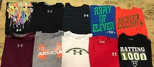Lot Of 10 Boys YLG Under Armour T-shirts Huge Free Shipping