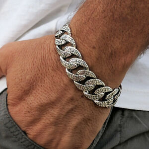 925 Sterling Silver Men Man Chain Bracelet Biker Cuban Wide Size 7 8 9 10 Skin