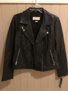 Michael Kors Womens Leather Moto Jacket Brand New Fitted Black