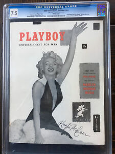 1953 PLAYBOY #1 Issue #1 7.5 CGC SIGNED BY HUGH HEFNER PSADNA -MARILYN MONROE