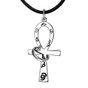 Egyptian Ankh Cross Pendant w Ring Sterling Silver Men's Necklace Leather Cord