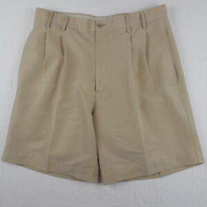 Callaway Golf Sport Mens Beige Pleated Front Casual Shorts Rayon Blend Sz 34