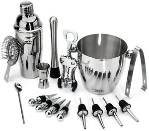 Home Cocktail Bar Set Cocktail Shaker Wine Tools and Accessories 16-Pc Set NEW