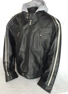 Brave Soul Faux Leather Jacket Large L Men's Racer Stripe Coat Removable Hoodie