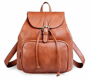 AB Earth Small Leather Backpack Purse for Women on Sale Clearance M752 Brown-1