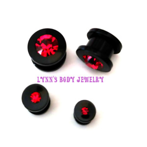 UV Black Acrylic Red Gem * Double Flared Screw Fit Tunnel Plug Gauges PAIR
