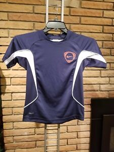 Kids Nike Fit Dry Shirt Small (8) Blue White Red Short Sleeves