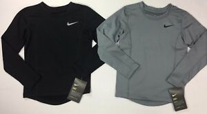 Boy's Little Youth Nike Dry Dri-Fit FITTED Long Sleeve Shirt
