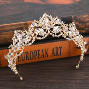 Crystal Bridal Swarovski Rhinestone Wedding Crown Tiara Headpiece Gold or Silver $29.89