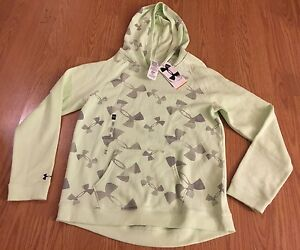 New Under Armour Kids Girl Small Hoodie Sweatshirts Gray Mint Green $50!
