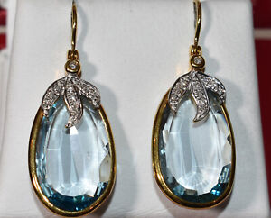 Blue Topaz and Diamond Earrings in 18K Yellow Gold