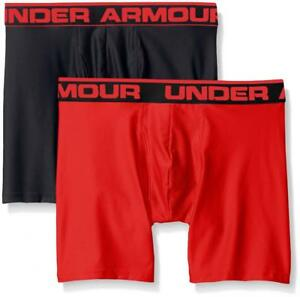 "Under Armour Men's Original Series 6"" Boxerjock 2-Pack BlackRed Large"