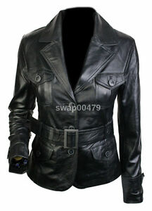womens fashion belt style real leather new outwear ladies black girls jacket