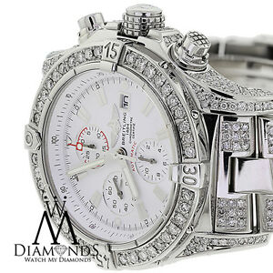 Breitling Super Avenger White A13370 Covered Over 13Ct Diamond Authentic Watch