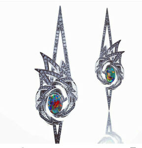 925 Sterling Silver Cz Earrings Opal Black Round Dangle Cocktail Party Jewelry