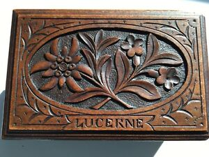 Black Forest Hand Carved Wooden Small Box Lucerne Souvenir $125.00