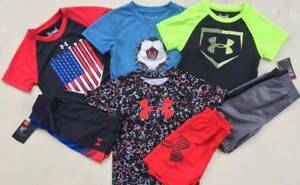 BOY'S SIZE 2T LOT OF 4 UNDER ARMOUR SHIRTS & SHORTS OUTFITS NWT