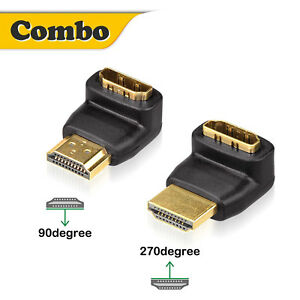 HDMI Male to Female Angle Port Saver Adapter Connector 180  90 or 270 Degree US