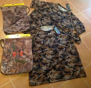 TWO Under Armour Heat Gear 2XL Camo Shirt 2 Camo Real Tree Sackpack Backpack Lot