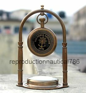 Vintage Nautical Antique Brass Working Desktop Clock With Compass Decorative