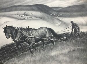 Antique Stone Lithograph Horses Plow Farmer Signed By LOUIS B. ALLEN Country
