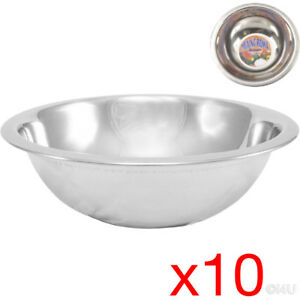 10 X MIXING BOWL STAINLESS STEEL STIR SALAD BOWLS VEGETABLES COOKING KITCHEN