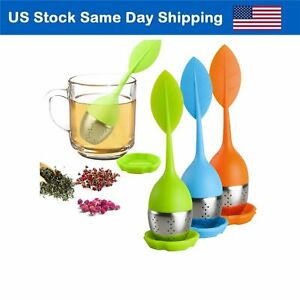 Silicone Loose Leaf Tea Infuser Stainless Steel Tea Steeper Filter Diffuser 3Set