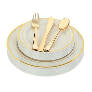 Premium Plastic Disposable Plates Gold Silver White Wedding Occasion Party Bulk