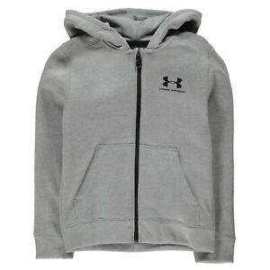 Under Armour Kids Boys Logo Full Zip Hoody Junior Hoodie Hooded Top Cotton Print