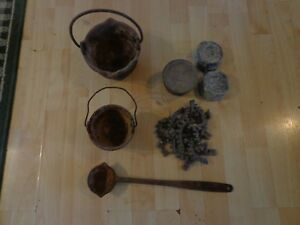 Vtg. Cast Iron Ladle & Lead Pots Dipper Mold Melting Pot Spoon Bullets Sinkers