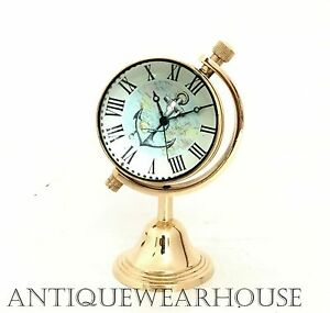 Solid Brass Working Clock Nautical Collectible Desktop Clock Decor