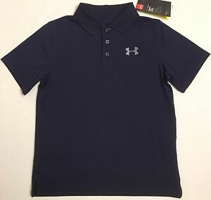 NWT youth Boys' YLG large UNDER ARMOUR knit POLO heatgear GOLF shirt Navy blue
