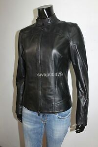 genuine luxury leather women black slim fit black ladies girls jacket coat