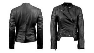 women fashion genuine luxury leather black outwear ladies girls jacket