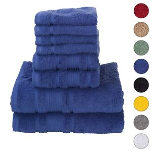 NEW NAVY BLUE Color ULTRA SUPER SOFT LUXURY PURE TURKISH COTTON  8 PCS TOWEL SET