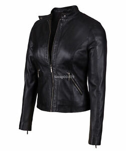 women genuine lambskin leather biker western fashion black ladies girls jacket