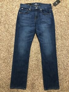 NWT 7 FOR ALL MANKIND THE STRAIGHT TAPERED NEW DESIGNER MEN'S JEANS SIZE 29