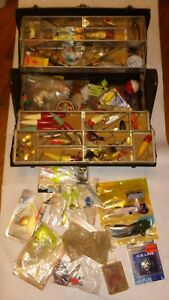 Antique Kennedy Fishing Tackle Box Full of Lures +more Large Vintage #423 Loaded
