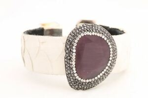 Turkish Jewelry White Leather Purple Quartz 925 Sterling Silver Bracelet