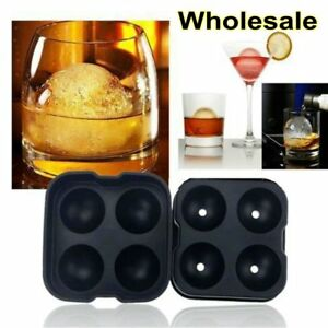 New Round Ice Balls Maker Tray FOUR Large Sphere Molds Cube Whiskey Cocktails BP