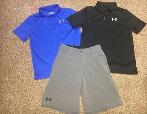 Lot Boys Under Armour Polo Heatgear Shirts Golf Shorts Summer Outfit Youth Small