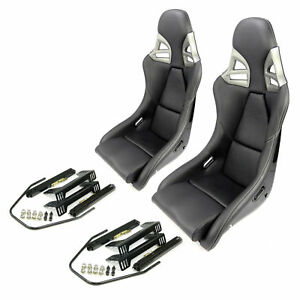 2 CARBON universal fit black leather white stitching SPORT SEATS with RAILS