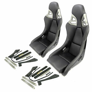 2 CARBON black leather white stitching SPORT SEATS with RAILS FOR PORSCHE 911